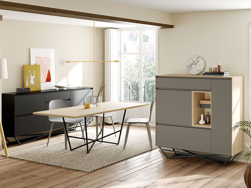 Photo d'une composition murale modulable buffet design de la collection Soleil de chez Mobenia
